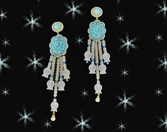 OOAK Chandelier Earrings - Recycled Vintage Celluloid - Lalique Look Beads