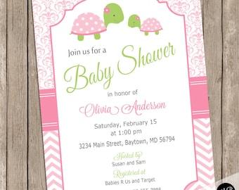 Girl Turtle baby shower invitation,  baby girl pink shower invitation, girl turtles invitation, tortoise, purple, green, damask Turtlepink02