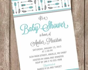 Tribal arrow baby shower invitation, arrow baby shower invitation, feather arrow invitation, boy arrow invitation, printable