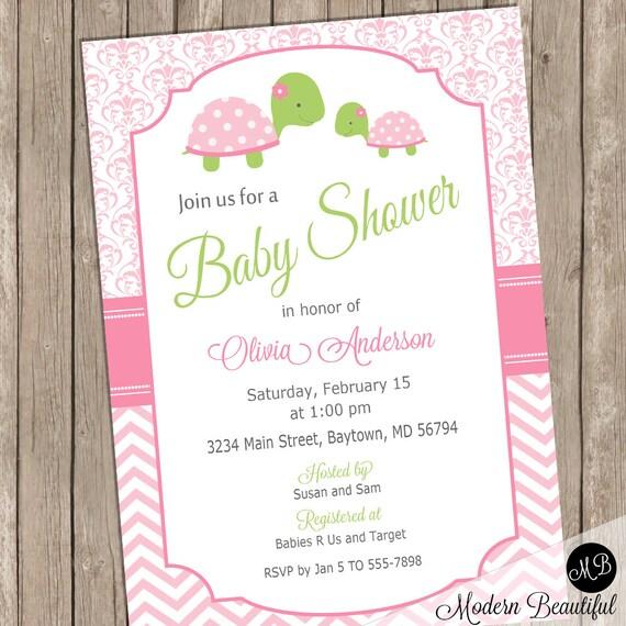girl turtle baby shower invitation baby girl pink shower invitation