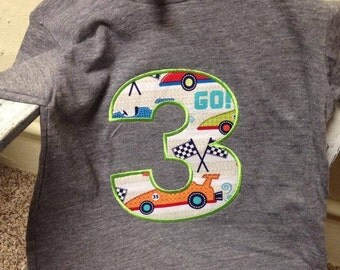 birthday number applique shirt