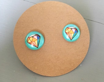 Colorful Diamond Shape Earrings, on titanium posts