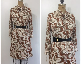 1960s Mod Swirl Dress 60s Story Brook NOS NWT Deadstock