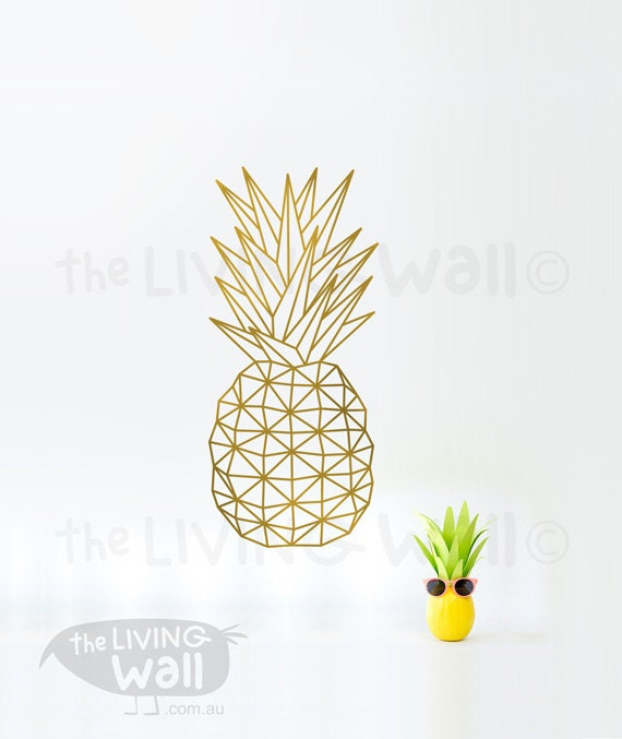 pineapple wall decal geometric pineapple vinyl decal by livingwall. Black Bedroom Furniture Sets. Home Design Ideas