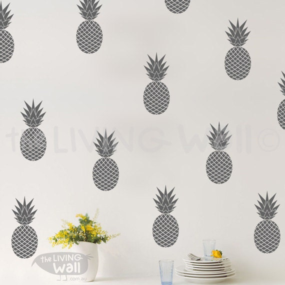 Pineapples wall decals gold vinyl decal fruit home decor wall sticker nursery australian made Home decor wall decor australia