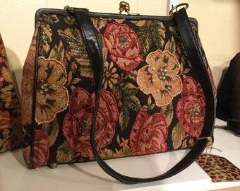 Tapestry beaded handbag shoulder bag