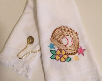 personalized girls softball sports towel with grommet and hook