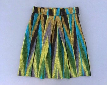 Vintage 1990s 1970s Woven Ikat Skirt. 90s Nineties Ikat Skirt. 70s Seventies Mini Skirt
