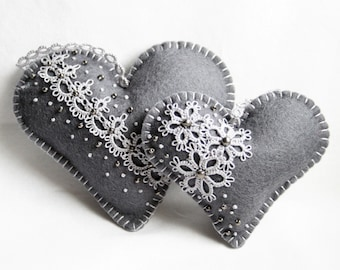 Heart Grey Felt Tatting Lace Lavender Sachets