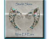 Beautiful Aqua Wire Elf Ears in Sterling Silver Filled with a Sparkling Crystal at the Tip