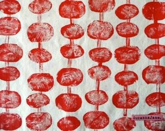 Handprinted Cotton Tote Bag Pebble Design