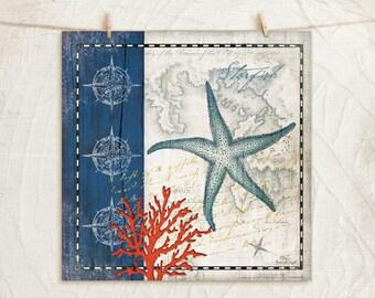 Coastal Blue Starfish 12x12 Art Print -Coastal Home Decor, Nautical, Starfish, Seashell, Coral -Blue, White, Tan, Red