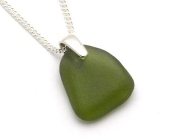 Fern Green Sea Glass Pendant Necklace FERN