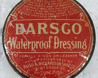 Antique Advertising Tin Barsco Waterproof Dressing Portland Maine Vintage Americana Advertising Tin Made in USA ACTTEAM