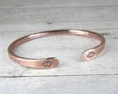 Copper Puzzle Piece Bracelet, Hand Stamped Autism Bracelet, Hammered Copper Puzzle Bracelet
