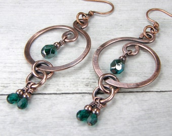 Emerald Green & Copper Wire Earrings, Oxidized Copper Wire Earrings, Hammered Copper Wire Earrings