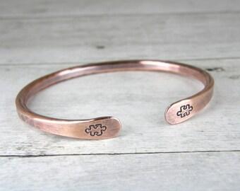 Copper Puzzle Piece Bracelet, Hand Stamped Autism Bracelet, Hammered Antiqued Copper Puzzle Bracelet