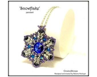 Bead Pattern pendant 'Snowflake' Christmas pattern with Swarovski and Superduo 20% OFF