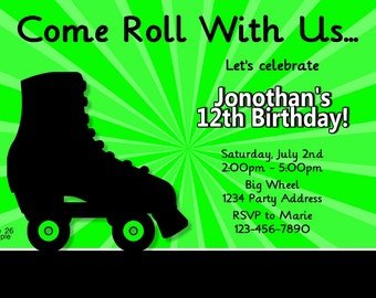 Boys Roller Skating Party//Skate Invitation//Birthday Party//Neon Invite//Digital JPEG File #26