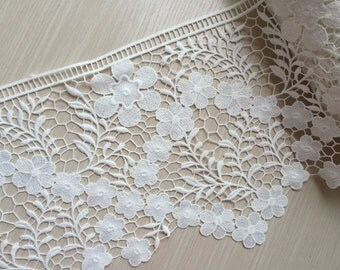 Cream White Lace Trim Wide Floral Embroidered Lace Trim 8.66 Inches Wide 1 yard