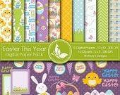 50% off Easter This Year Paper Pack - 10 printable Digital Scrapbooking papers  - 16 Cliparts - 12 x12 - 300 DPI