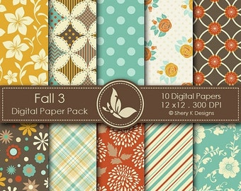 50% off Fall 3 Paper Pack - 10 Digital scrapbooking papers - 12 x12 - 300 DPI