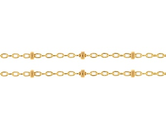 14Kt Gold Filled 1mm Satellite Chain with 2mm Bead - 5ft (2478-5)