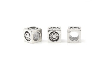 Smiley Bead Sterling Silver 6mm Block  - 1pc 3.8mm Inside Diameter (4053)/1