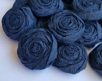 Navy paper flower roses - Set of 20 - Custom colors available