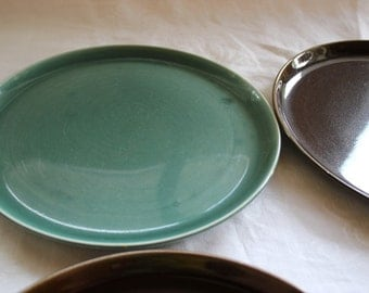 Russel Wright Dinner Plates, Seafoam, Plate, Dinner, Chartreuse, Brown, Russel Wright