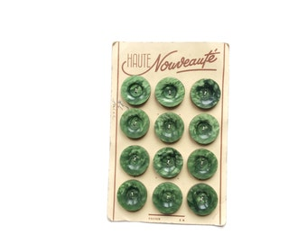 12 Green Buttons, Marbled, Antique, French, Button Card