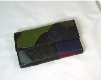 End Summer Sale Vintage Ladies Clutch Wallet Leather Patchwork Black Brown Green Coin Holder Checkbook