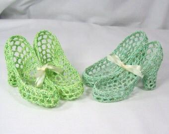 2 Pair Vintage Crochet High Heel Pumps Shoes Novelty Figurine Decor Starched Green Aqua Metallic