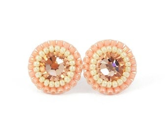 peach coral pink stud earrings - peach ivory wedding bridesmaids bridal jewelry - swarovski crystal tiny delicate earrings unique gift