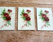 Rose Postcards Vintage Rose Cards Set of Three Vintage Postcards Great for Scrapbooking of Craft Projects Great for Vintage Style Wedding