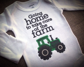 Going home to take care of the farm onesie Gray, Farm Kid, appliqué Tractor, Farming bodysuit, green, Red, Ranch, Coming home outfit