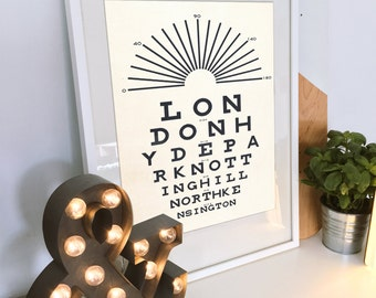 London Print, Eye Chart, Typography Poster, Modern Art, Optometry Art, Gifts For Optometrist