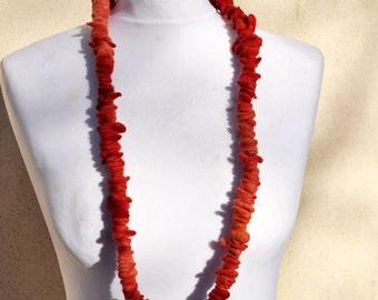 Felted necklace, fibre art, gift, red, orange,  felted slices