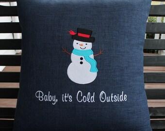 Snowman Outdoor Pillow Cover in Indigo Blue
