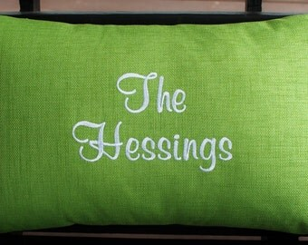 Personalized Outdoor Pillow Cover In Lawn Green | Last Name| Monogrammed |  Housewarming | Wedding