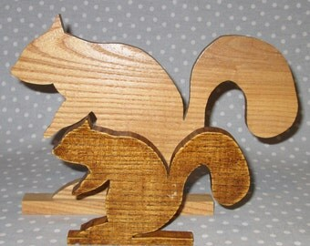 Folk Art Handmade Wood Squirrel Standing Silhouette