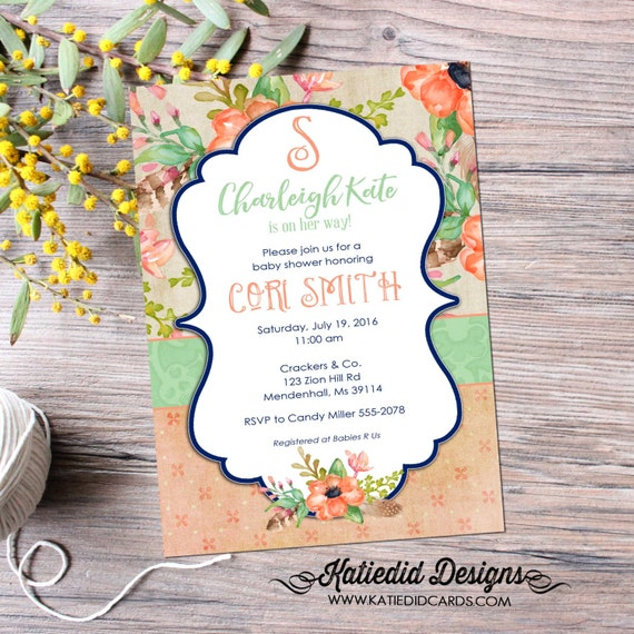 BOHO Baby shower invitation floral monogram girl idea sprinkle gender reveal navy coral mint couples diaper baptism neutral 1463 shabby chic