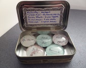 Outlander Scottish Phrases Magnets Set of 5 in a Tin, Glass Marble Fridge Magnets