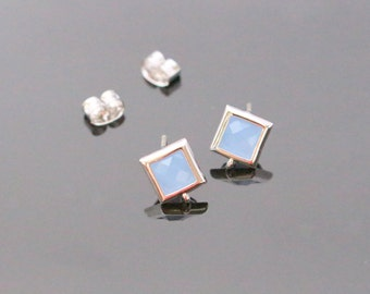 Silver Light Sapphire Opal Crystal Square Stone Earrings, Light Blue Earrings Findings, Small Square Studs, Posts, 2 pc, KY21925