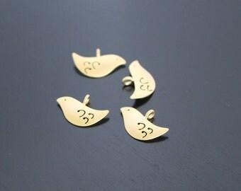 Matte Gold Bird Connector, Pendant, Charm, 2 pc S510835