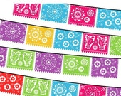 40% OFF SALE Papel Picado Clipart, Mexican Banners Clip Art, Cinco de Mayo Clip Art, Printable Papel Picado, Vector EPS, Commercial Use