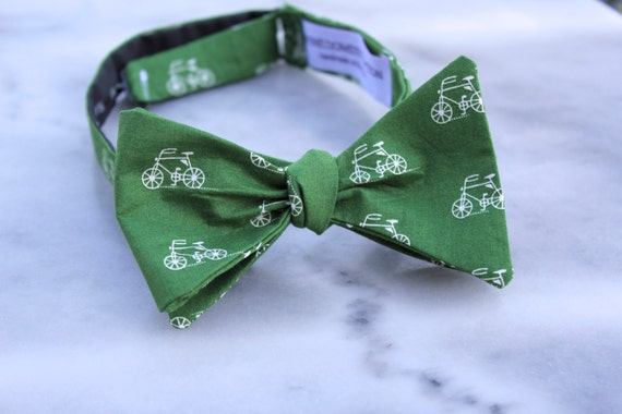 Green and White Bicycle Bow Tie - clip on, pre-tied with adjustable strap or self tying