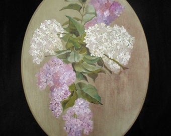 Original Oil Painting After Paul de Longpre of Purple and White Lilacs on Oval Pine Plaque 12 x 16