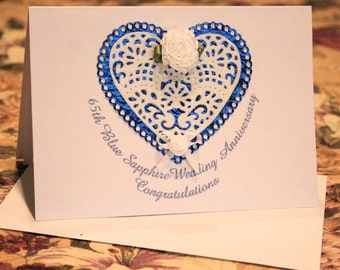 65th Blue Sapphire Wedding Sparkle Glitter Lacey Hearts and Flowers Anniversary Card