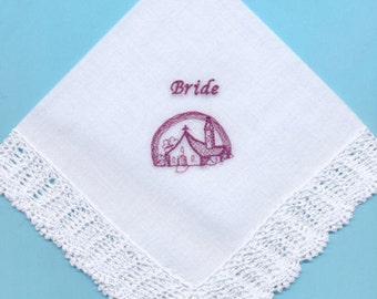"SALE - 50% DISCOUNT - Brides lovely Wedding Day Handkerchief+2"" Bridal Crochet Lace-Wedding Chapel Embroidery in Burgundy-1 only"